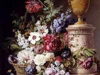 Ζωγραφική νεκρή φύση λουλούδια βάζο καλάθι