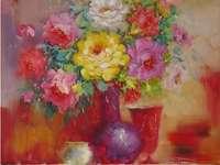 Pintando vaso de flores de natureza morta