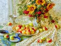 Рисуване на натюрморти на цветя и плодове