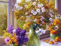Pintando vasos de flores na janela