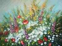 Ζωγραφική λιβάδι πολύχρωμο λουλούδι