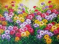 Рисуване на цветна поляна с цветя