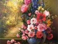 Pintura jarrón de flores delante de la ventana