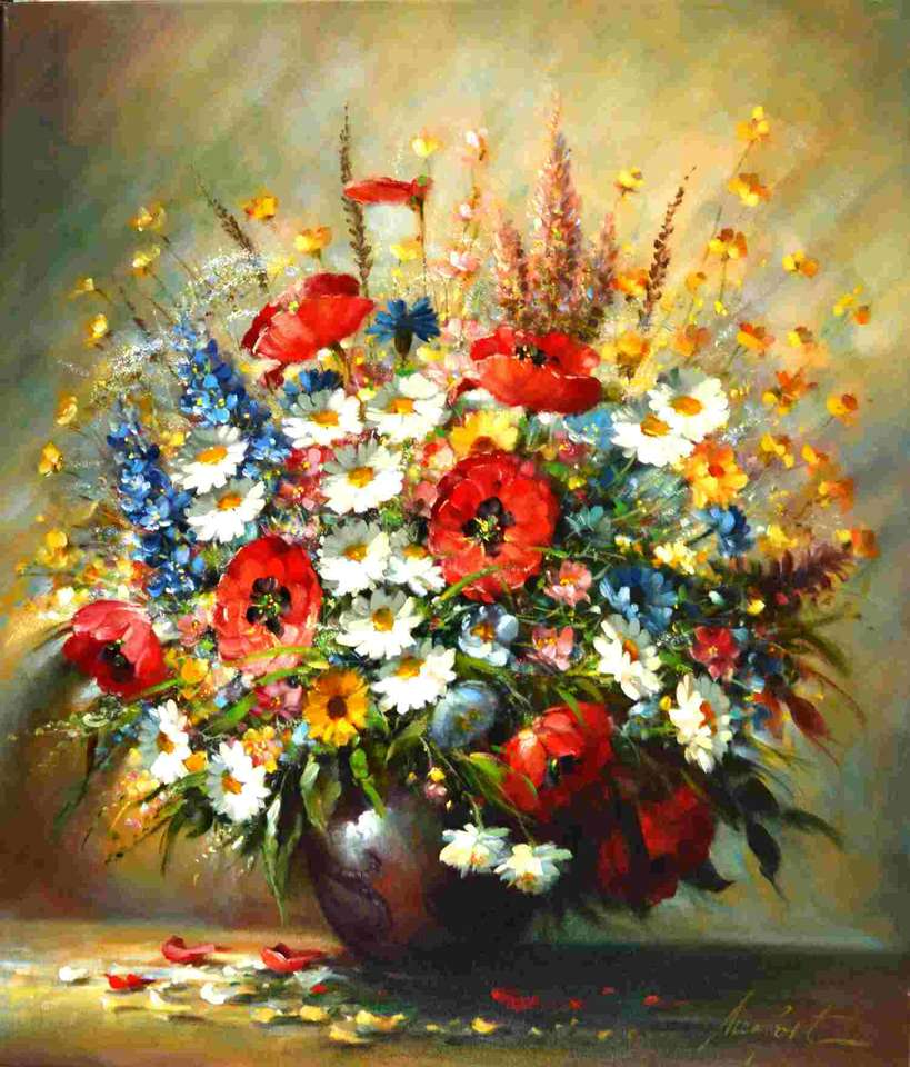 Vopsea vază de flori de flori colorate puzzle online