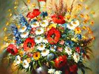 Painting flower vase of colorful flowers