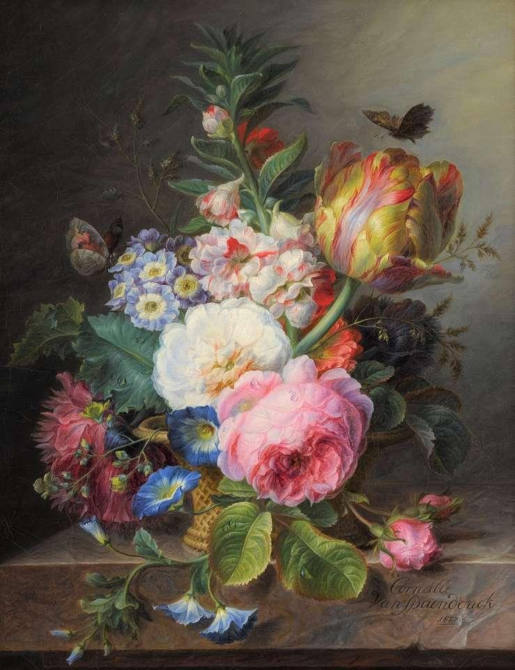 Malování květinové vázy barevné květiny