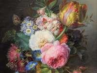 Ζωγραφική βάζο λουλουδιών πολύχρωμα λουλούδια