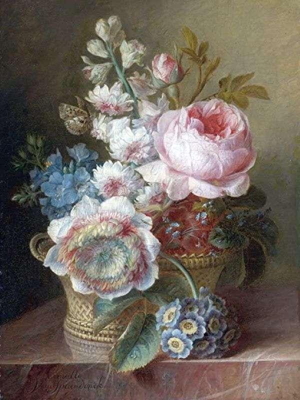 Panier de peinture avec des fleurs (9×12)