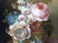 Festő kosár virágokkal