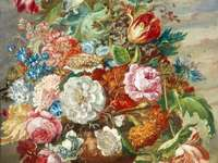 Bol de peinture avec des fleurs