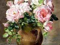 Ваза за рисуване с рози