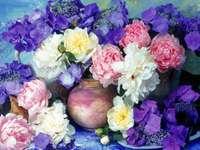 Ζωγραφική βάζο λουλουδιών