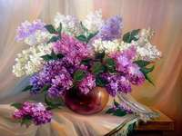Painting vase with lilac