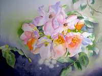 Pittura vaso di fiori acquerello