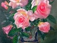 Vase à fleurs de peinture avec des roses