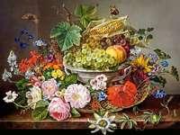 Måla blommor i korgbunke med frukthavre