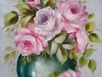 Vase de peinture avec des roses