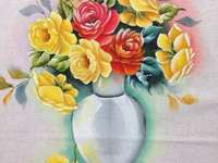 Painting vase with roses