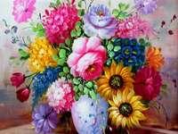 Festés váza színes virágokkal