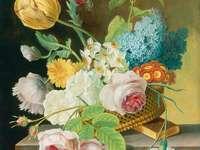 Panier de peinture avec des fleurs