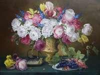 Peinture de fleurs et de raisins nature morte