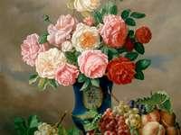 Pintando flores e frutas da natureza morta
