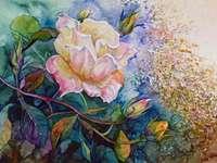 Peinture rose buisson jaune