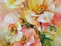 Ζωγραφική με κίτρινα και πορτοκαλί λουλούδια