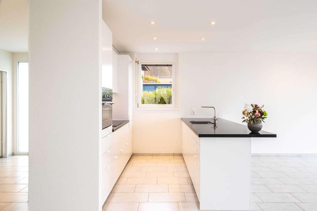 бяла керамична вана близо до бяла стена - Кухня IKEA черно бели цветя иммореновация. Цюрих, Швайц (9×6)
