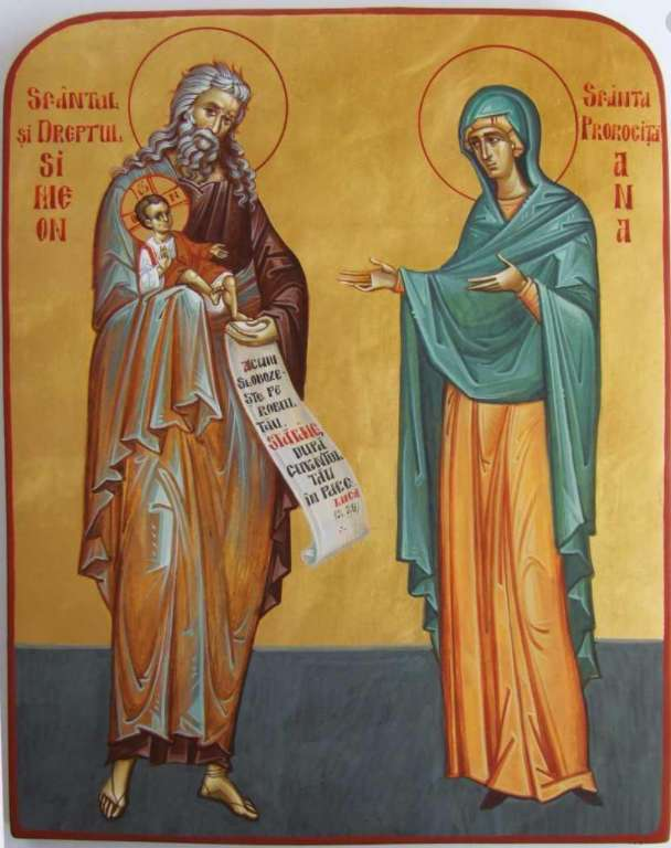 the icon of the saint and the right simeon, the holy prophetess - icon saint and right simeon, holy prophet ana maria stiker (6×8)