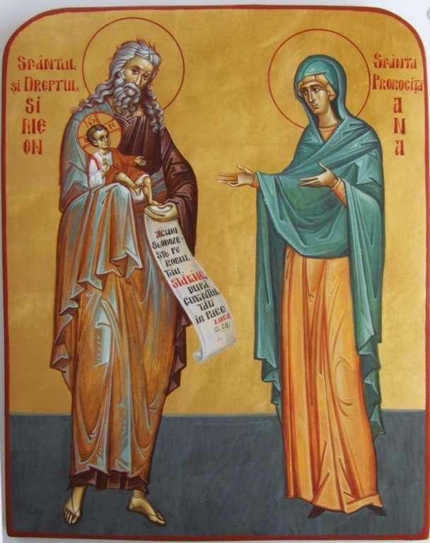 het icoon van de heilige en de juiste simeon, de heilige profetes - icoon heilige en juiste simeon, heilige profeet ana maria stiker (6×8)