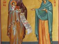 the icon of the saint and the right simeon, the holy prophetess