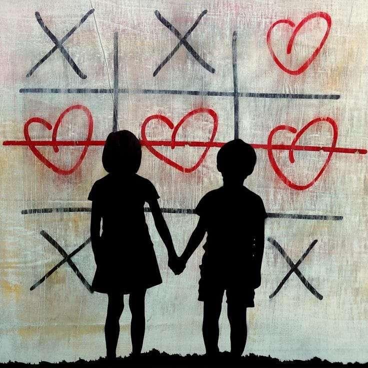 przyjaźń dziecięca - praca wykonana przez artystę Banksy (5×5)