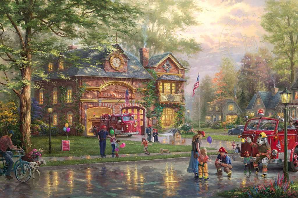 "Miasto Firehouse - ""Miejska straż pożarna"" - Thomas Kinkade (11×8)"