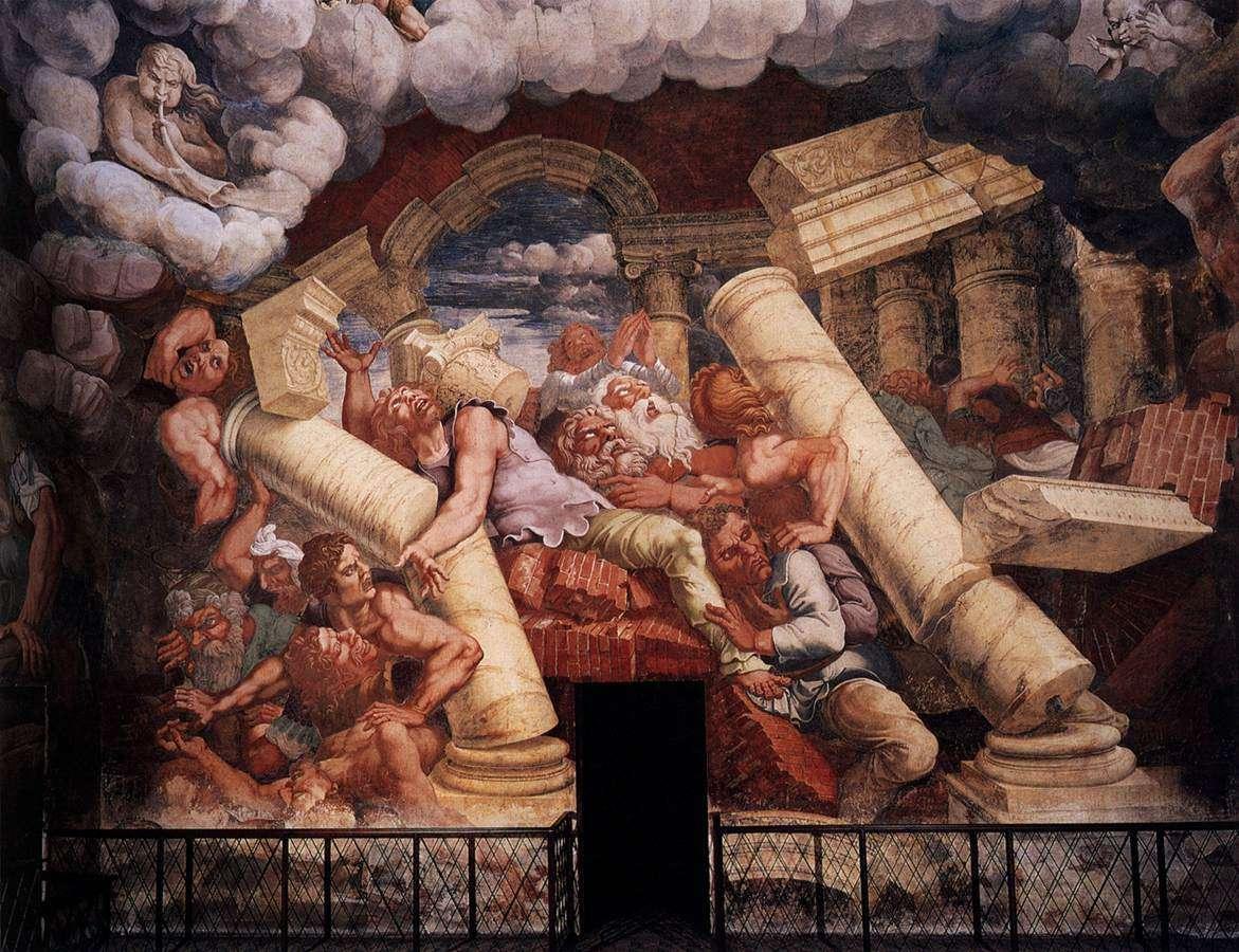 giulio romano падането на гигантите - Джулио романо палацо в Мантуа (20×16)