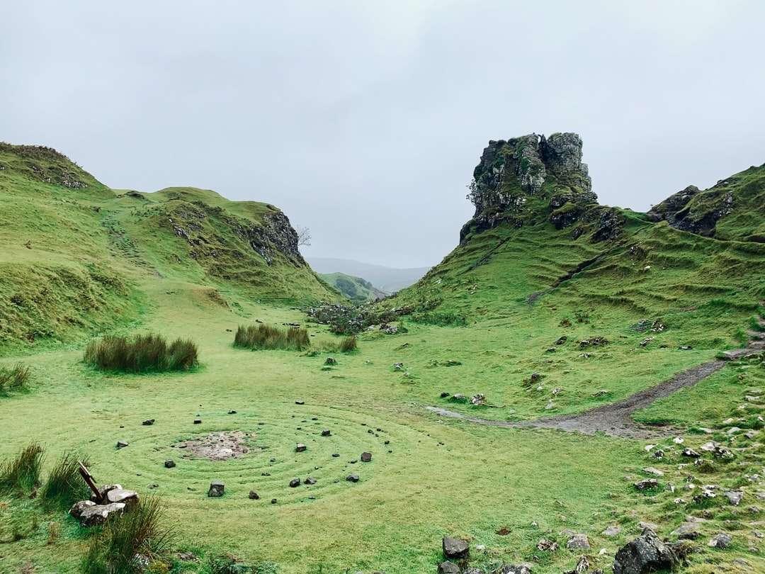 campo de hierba verde en la montaña - The Fairy Glen, Uig, Portree, Reino Unido (9×7)