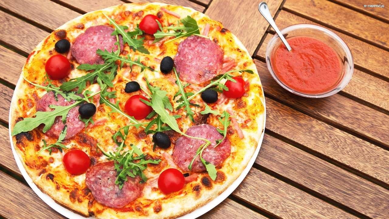 pizza s omáčkou - m (14×8)
