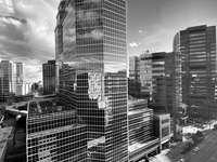 fotografie în tonuri de gri a clădirilor orașului