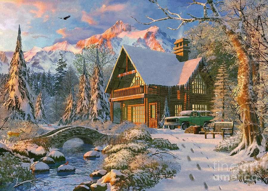 Hus i bergen - m (14×10)