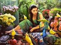 obraz z papugami