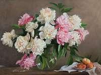 kwiaty biało- różowe
