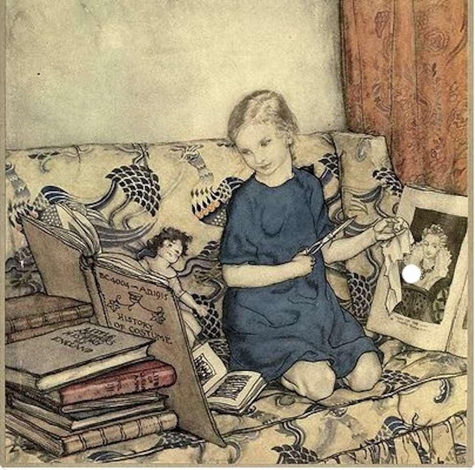 dívka má ještě hodně knih k čtení (20×20)