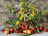 wild flowers, fruit