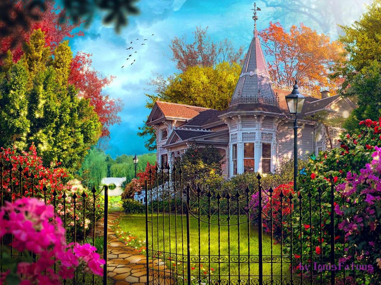 Huis in de tuin - Huis in de tuin, tuinhek, bomen, bloemen (12×9)