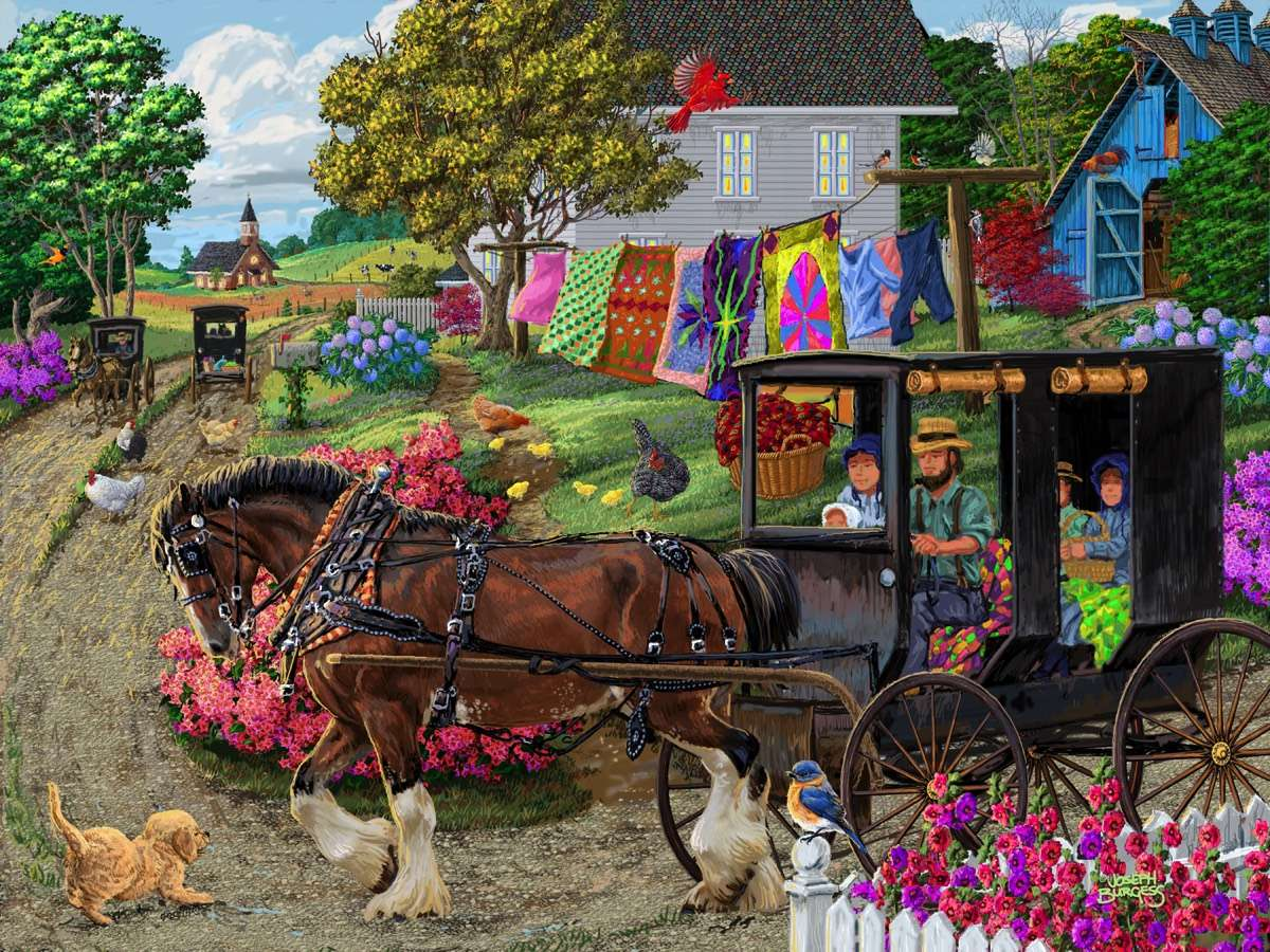 Amish Countryside - Village, people, horse, carriage, houses (12×9)