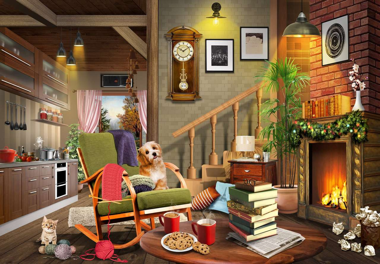 inside the house - indoors in the house, dog, cat, fireplace (12×9)