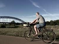 homem de camisa listrada cinza e branca andando de bicicleta preta