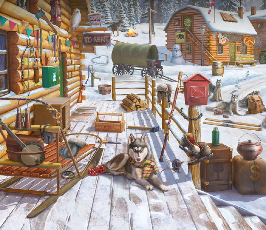 Dogs with blue eyes - Winter, houses, snow, dogs (11×10)