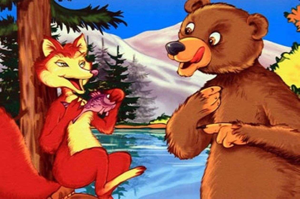 Η αλεπού και η αρκούδα - Η αλεπού τρώει ψάρι μπροστά από την αρκούδα (4×3)