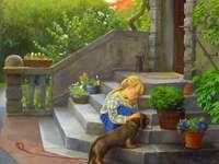 petite fille avec un chien